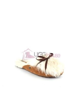 Меховые домашние тапочки UGG Shaine Fluff - Chestnut