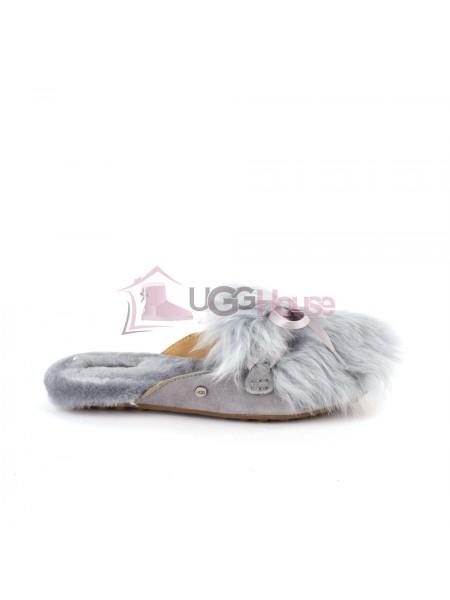 Меховые домашние тапочки UGG Shaine Fluff - Grey