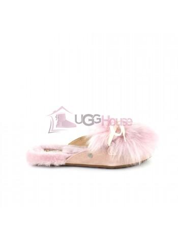 Меховые домашние тапочки UGG Shaine Fluff - Pink Розовые. Дисконт магазин UGG Australia