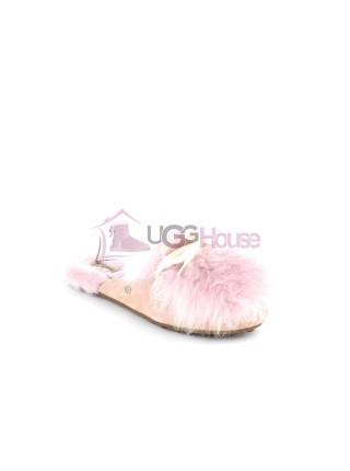 Меховые домашние тапочки UGG Shaine Fluff - Pink