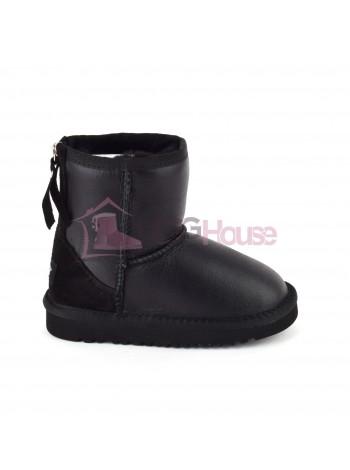 UGG Zip Kids Black Детские угги с молнией сзади - Черные обливные