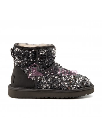 Угги Мини с пайетками UGG Sparcles Miracle Grey