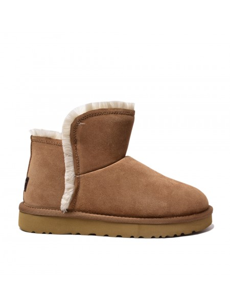 UGG Womens Classic Mini Fluff High Low - Chestnut