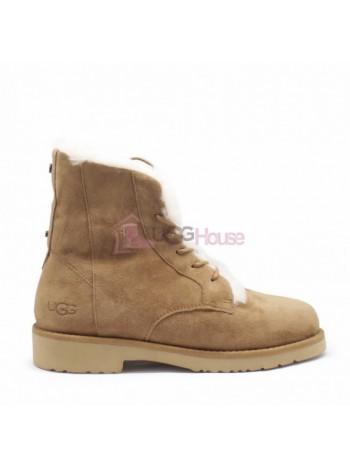 Ботинки на шнурках угги UGG Womens Quincy Boot Chestnut Рыжие