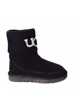 UGG® Classic Rib Knit Logo Boots - Black