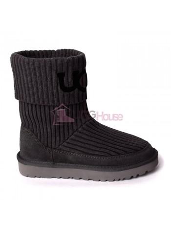 UGG® Classic Rib Knit Logo Boots - Grey