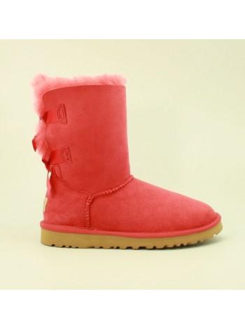 Угги с ленточками сзади розовые UGG Bailey Bow Pink