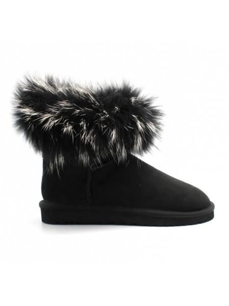 UGG Australia Fur Fox Skin Black Угги мини черные с черным мехом лисы