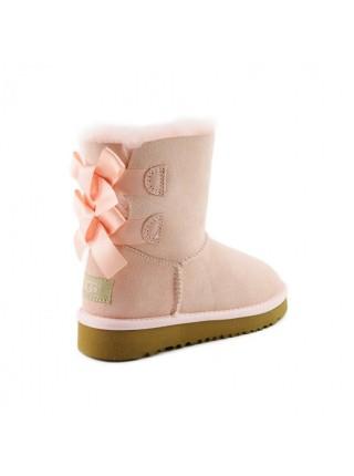 UGG Bailey Bow Kids Pink Light Угги с лентами сзади для девочек нежно-розовые