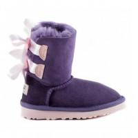 Угги детские с ленточками фиолетовые UGG Bailey Bow Kids Violet