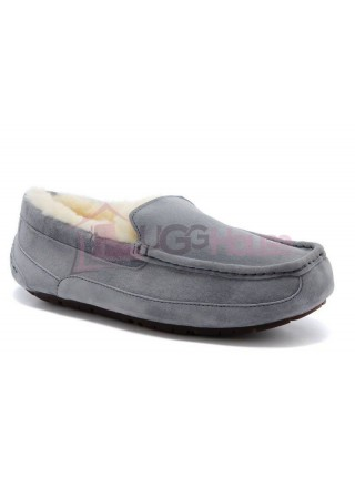 UGG Australia Ascot Grey Мужские мокасины с мехом серые