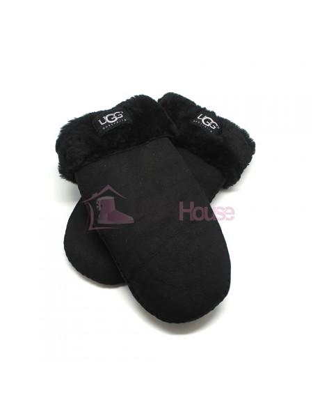 Женские варежки UGG Black Suede - 1019