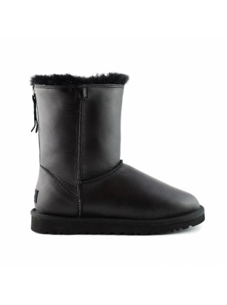 UGG Australia Classic Short One Zip Black Кожаные черные угги с молнией сзади