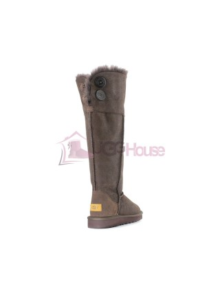 UGG Boots Over The Knee Bailey Button 2 Bomber Chocolate