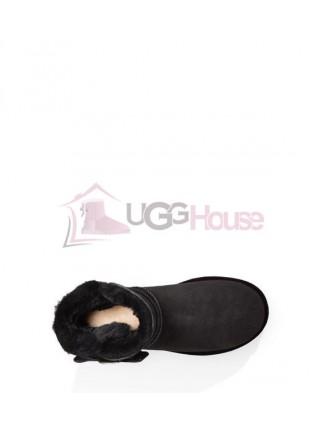 UGG Australia Karlie Brooch Black Угги с бархатной летной украшенной брошью с кристалликами Swarovski