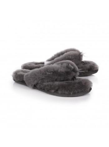 UGG Fluff Flip Flop Grey Вьетнамки с мехом угг серые.