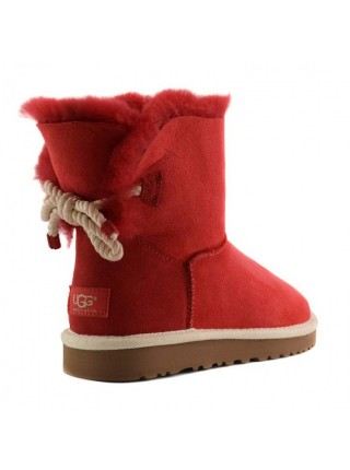 UGG Mini Bailey Bow Selene Red Угги со шнурком сзади красные Селен