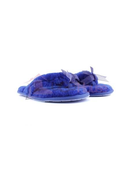 UGG Fluff Flip Flop Blue Вьетнамки с мехом угг синие
