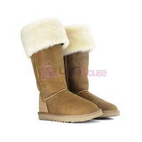 Угги ботфорты UGG Boots Over The Knee Bailey Button 2 Bomber Chestnut