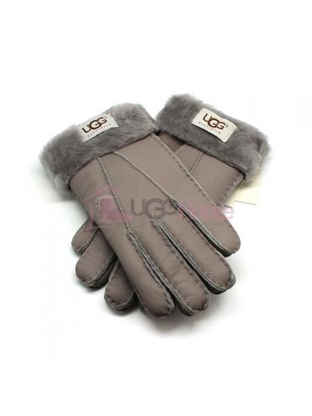 Мужские меховые перчатки Leather Grey - 1011
