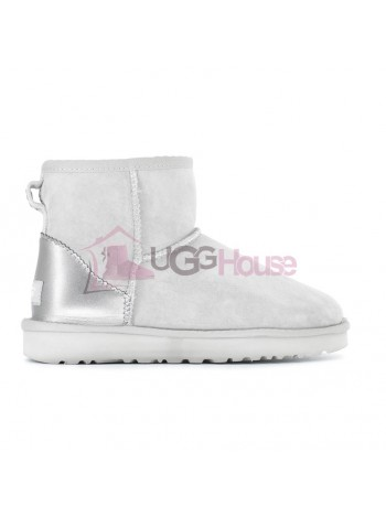UGG Women's Classic Mini Metallic II Grey-Violet непромокаемые