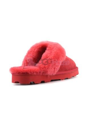 Меховые домашние тапочки Coquette - Красные