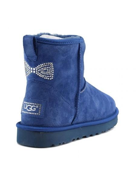 Угги с бантиком в виде страз синие UGG Mini Crystal Bow Navy