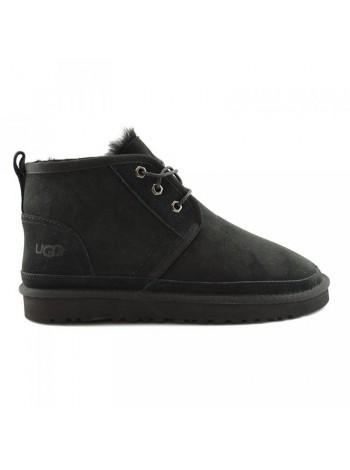 UGG Men's Neumel - Black Угги мини мужские черные со шнурками