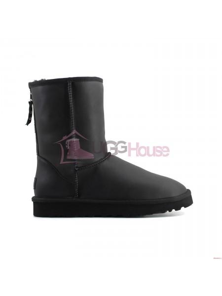 Угги Кожаные Мужские с молнией UGG ZIP - Black
