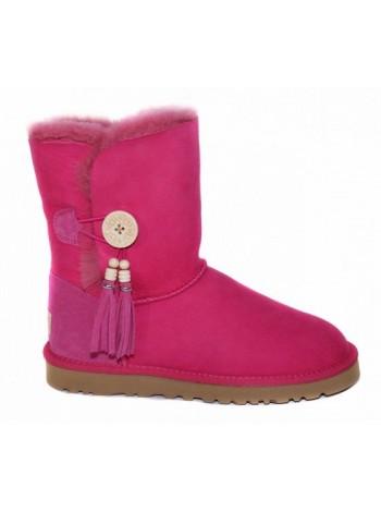 UGG Bailey Button Charms Pink Розовые угги с пуговицей