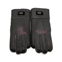 Мужские меховые перчатки Dark Grey Leather - 1001