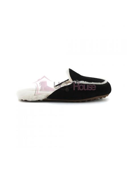 Меховые домашние тапочки Lane Slip On Loafer - Black