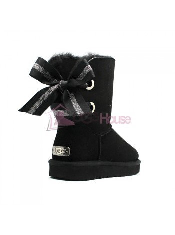 UGG Bailey Bow Customizable - Seashell Black