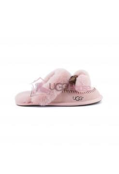 Меховые домашние тапочки UGG Hafnir POM - Розовые
