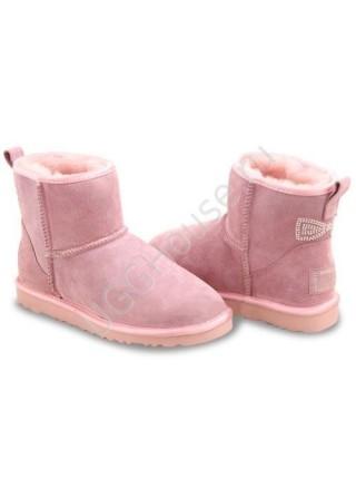 Угги с бантиком из страз розовые UGG Mini Crystal Bow Pink