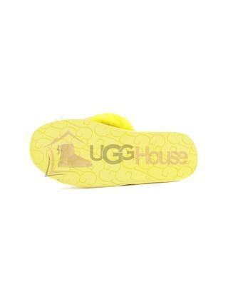 UGG Fluff Flip Flop Yellow Вьетнамки с мехом угг Желтые