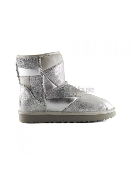 UGG Classic Glitter Patchwork Boot Mini Silver