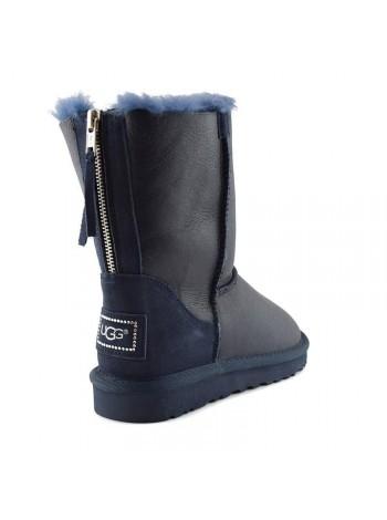 UGG Australia Classic Short Zip Navy Темно-синие угги с молнией сзади обливные