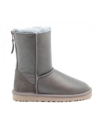 UGG Zip Grey Угги с молнией сзади серые обливные