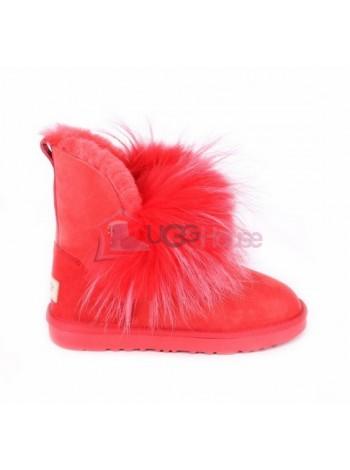 Угги с мехом лисы спереди Ugg Fox Gen Red Красные