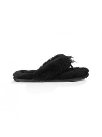 UGG Fluff Flip Flop Black Вьетнамки с мехом угг черные