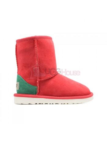 UGG Kids Угги Детские классические - Красные с зеленым задником и белой подошвой