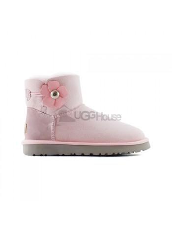 Угги Мини с Пуговицей UGG Poppy - Lavender Fog Розовые