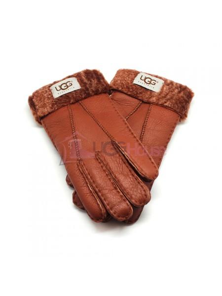 Мужские меховые перчатки Leather Red - 1016