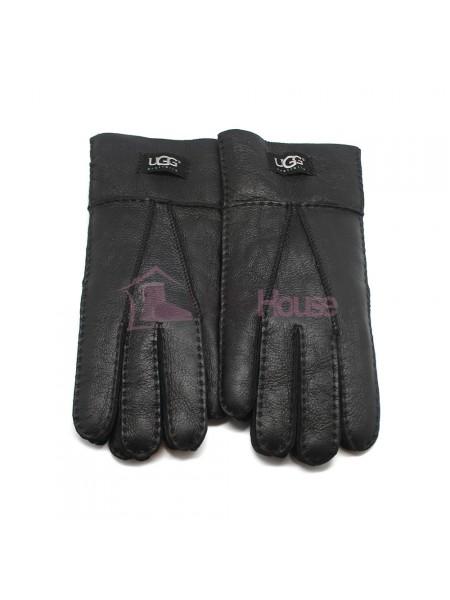 Мужские меховые перчатки Black Leather - 1003