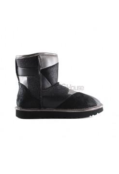 UGG Classic Glitter Patchwork Boot Mini Black