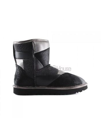 UGG Classic Glitter Patchwork Boot Mini Black Черные