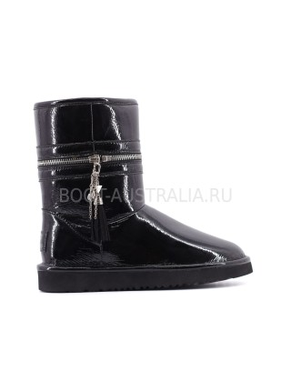 Угги Короткие Кожаные Zipper - Black Черные с молнией посередине