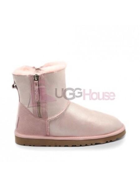 UGG Mini Double Zip Pink Угги с двумя молниями розовые