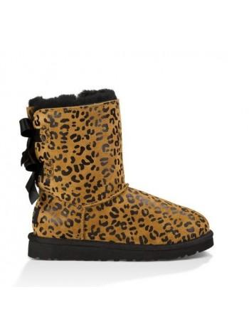 UGG Bailey Bow Leopard Детские леопардовые угги с лентами